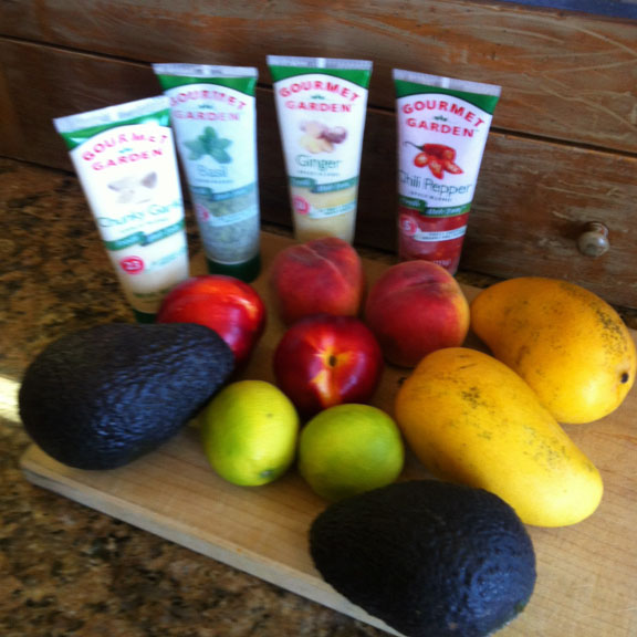 avocados with mangos and fruit for salsa