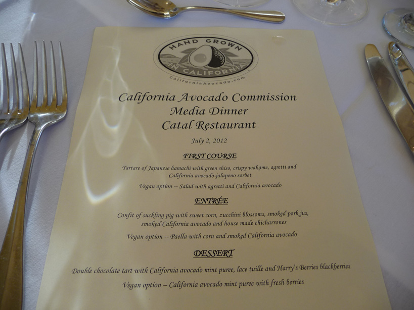 menu Californa avocado dinner